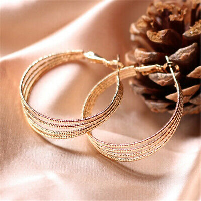Golden Round Multi-Circle Exaggerated Earrings Luxury charm Dangler Wedding