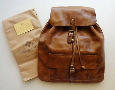 Patricia Nash Distressed Vintage Brown Cognac Leather Backpack Bag Atrani NEW