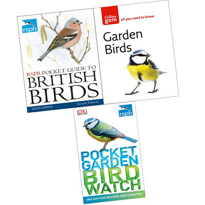 RSPB Pocket Garden Birdwatc,Guide to British Birds,Garden 3 Books Collection Set