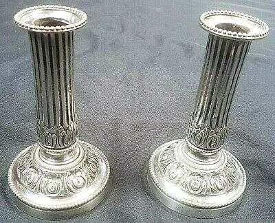 Pair of Antique Victorian French Doric Column Silver Plated Candlesticks c 1870