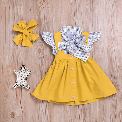 Am_ 3Pcs/Set Baby Kids Girls Short Sleeve Tops Suspender Skirt Headband Outfit C