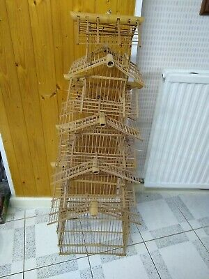 "VERY RARE Vintage Bamboo Bird Cage COMPLETE Kit 7 Levels approx 46"" tall"