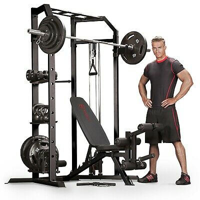 Marcy SM-3551 Power Cage Rack Home Multi Gym with 140k Olympic Weight Set
