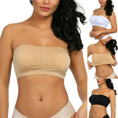 Women Sexy Solid Strapless Bra Bandeau Tube Removable Stretchy Padded Top Blouse