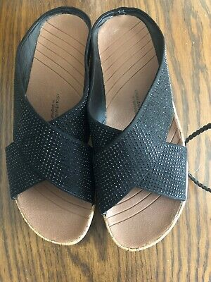 44e9b09e6 Cloudwalkers By Avenue Womens Sz 13W Sandals Shoes Gina Rhinestone Black  Slide