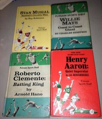 Vintage BASEBALL HALL OF FAME PLAYER 4 book lot MUSIAL MAYS AARON CLEMENTE