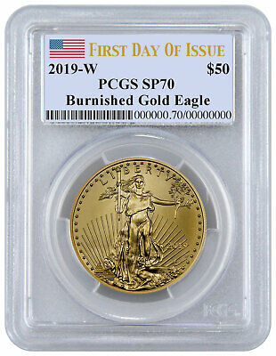 2019 W 1oz Burnished Gold American Eagle $50 PCGS SP70 FDI Flag Label SKU58299
