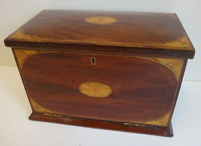 Outstanding inlaid mahogany Sheraton style writing box & fall down front c.1900