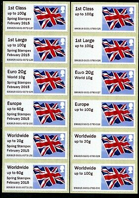 Spring +Autumn Stampex 2015 Gb Flag Pair Coll Sets/6 Guernsey Gg01 Post & Go
