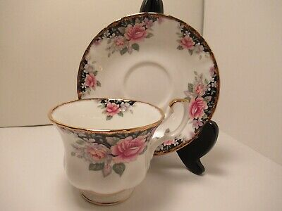 """Royal Albert English China Cup&Saucer  """"Concerto """" White Pink Flowers Pre Own"""