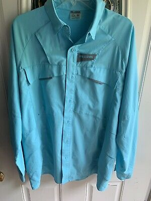 0625b09e Reel Legends Men M Vented Fishing Saltwater Shirt Tile Teal Blue Long Sleeve  NWT
