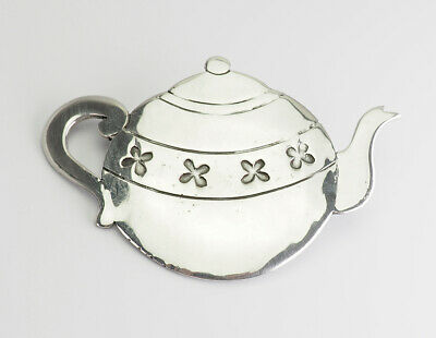Large vintage sterling silver whimsical teapot pin by Great Falls Metal Works