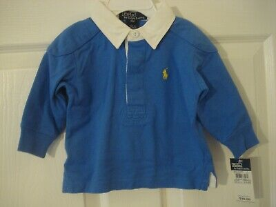 Polo Ralph Lauren Infant Boy Blue White Collar Long Sleeve Shirt Size 9 mo NEW