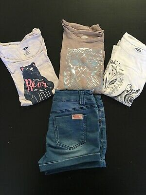 OLD NAVY/JOULES Denim Lot Little Girls Size XS 5 Shirts / Shorts