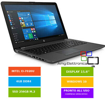 "NOTEBOOK HP 250 G6 15,6"" ,Core i3-7020U,4GB DDR4, 256GB SSD M.2,WIN10 GAR. IT"