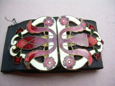 Antique Victorian/Edwardian/Art Nouveau Enamel Belt Buckle.