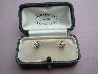 Antique Victorian/Edwardian 15ct Gold & Platinum Boxed Pearl Collar Studs.