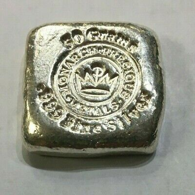 Monarch Precious Metals hand poured 50 gram .999 fine silver ingot.