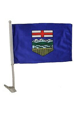 "ALBERTA CANADA Provincial  12"" x 18"" Inch CAR FLAG With Stick..New"