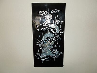 Mother of Pearl inlaid wood Oriental black lacquer wall plaque picture Dragon