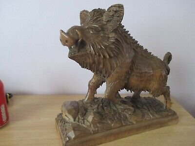 Large Chunky Antique Black Forest Wild Boar Swiss Wood Carving