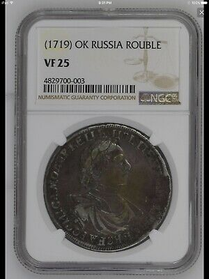 1719 Russia PETER I Rouble silver coin NGC VF-25