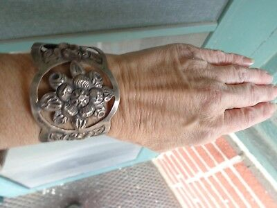 Vintage Signed Maciel Floral Repousse Stamped Mexican Silver Wide Cuff Bracelet