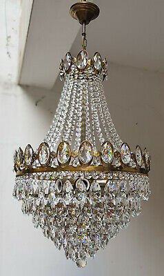 Antique Vintage Brass & Crystals French LARGE Chandelier Lighting Lamp Light