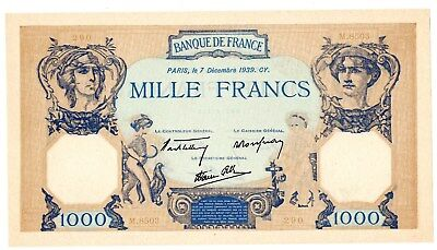 "FRANCE Billet 1000 FRANCS 7/12/ 1939 CERES ET MERCURE ""COPIE"" SUR ANCIEN PAPIER"