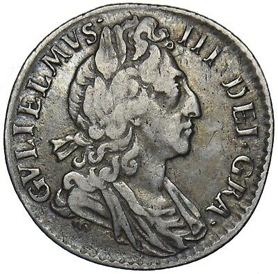 1697 Sixpence - William Iii British Silver Coin - Nice