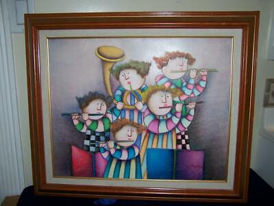 Signed J Roybal Whimsical Children Playing Flutes & Horn Oil Painting Framed