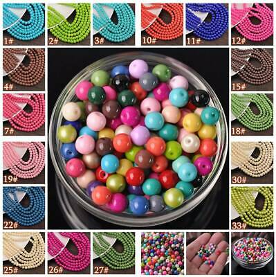 Wholesale Bulk Solid Color Round Opaque Glass Loose Spacer Beads lot 4mm 6mm 8mm