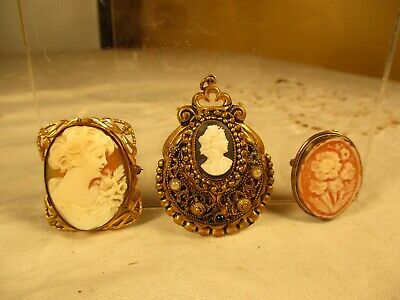 2 Vintage Cameo Pins and 1 Cameo Pendant Brass Tone