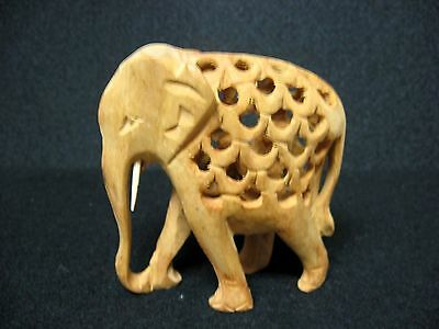 ONE WHOLE PIECE = TWO in ONE = hand carved wooden ELEPHANT figures 2 in 1