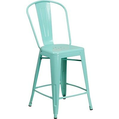 Flash 24in High Mint Green Metal Indoor-Outdoor Counter Height Stool W/Back NEW