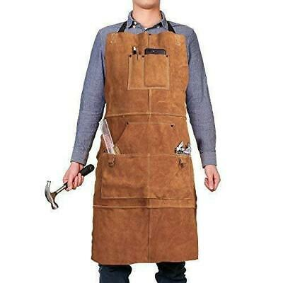 """Leather Welding Apron with 6 Pockets-Heavy Duty Tools Shop Work Apron,24""""x36"""","""