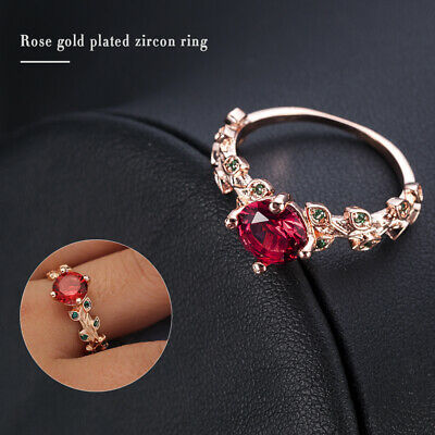 Gorgeous Rose Gold Filled Round Cut Ruby Women Cocktail Party Rings Size 6-10