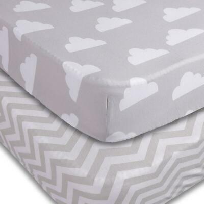 Playard Sheets, 2 Pack Clouds/Chevron Fitted Soft Jersey Cotton Playpen...