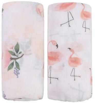 """Bamboo Muslin Swaddle Blankets - 2 Pack""""Floral & Flamingo Floral &"""