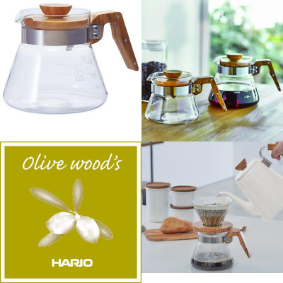 Hario 600 ml Olive Wood New Coffee Server, Transparent