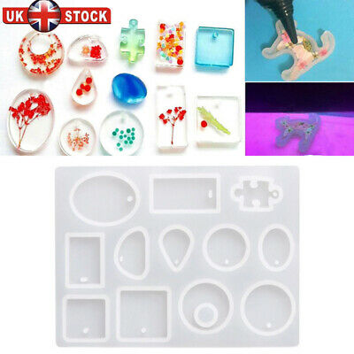 12x Silicone Mould Mold for DIY Resin Necklace Jewelry Craft Pendant Making tool