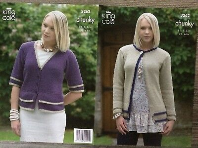 3628 King Cole Knitting Pattern: Girls Cardigans Chunky 22-32/""