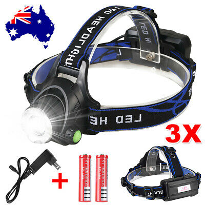 3X LED Headlamp Rechargeable Bike Lights Head Torch CREE 21000LM XML T6 Camping