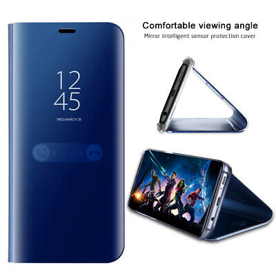 Pour Huawei P20 Lite P30 Pro Smart View Mirror Leather Filp Stand Housse Coque
