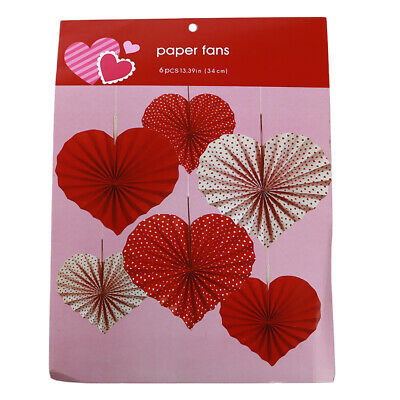6PCS Heart Shaped Paper Fans Valentines Day party Decorations Cupid Hearts LA