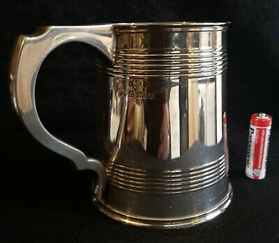 Antique Heavy Solid Sterling Silver 1 one Pint Beer - Ale Tankard Mug Birm 1913