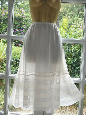 Vintage 60s Rockabilly Slippery Sheer Nylon Lacy Pleat Flouncy Half Slip Large