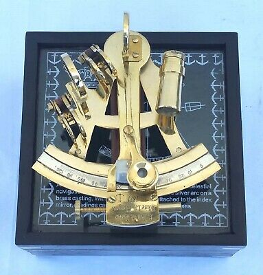 Nautical Brass Working Sextant Collectibles Maritime Royal Shiny With Wooden Box