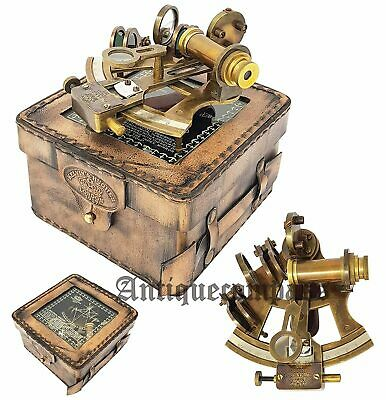 Antique Brass Marine Sextant & Wooden Box Collectible German Astrolabe Gift