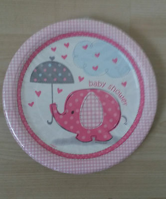 8 x Elephant Baby Shower paper plates (pink)